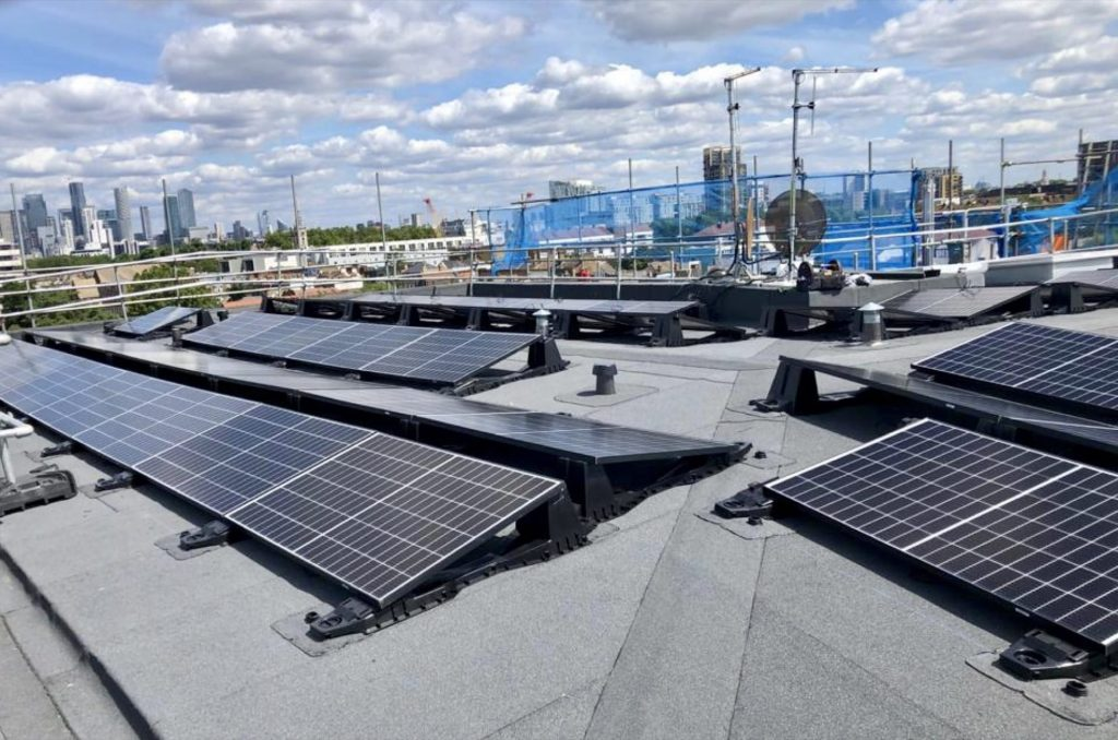 Bauder Solar Flat Roof PV installation in London