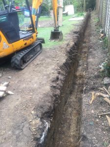 Ground works with a digger